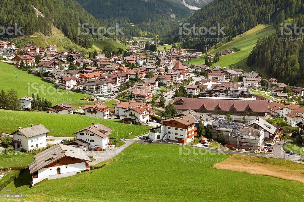Selva Val Gardena or Wolkenstein stock photo
