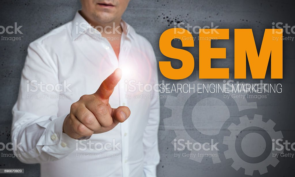 sem touchscreen is operated by man stock photo