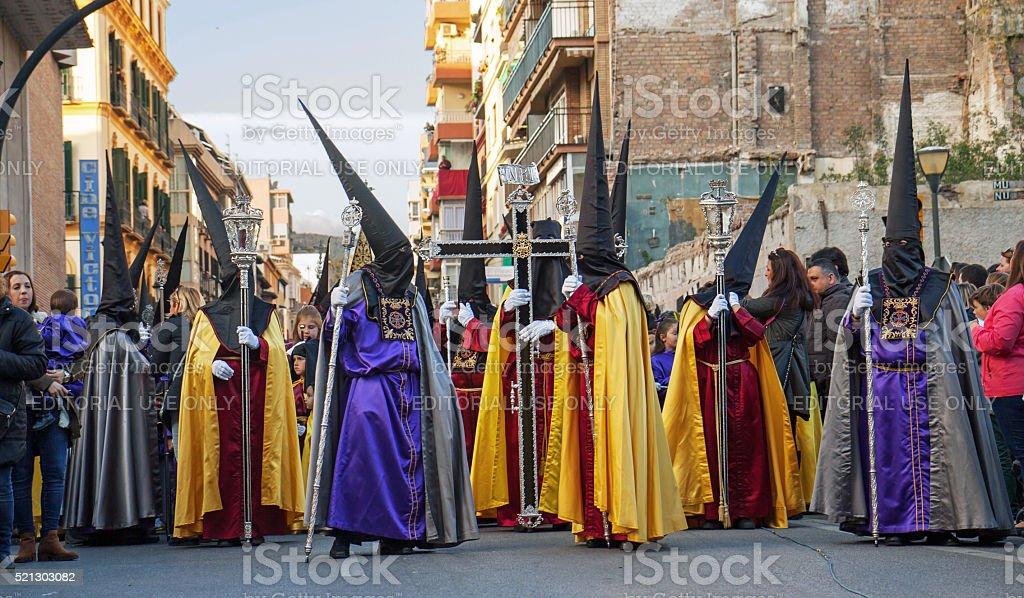 Semana Santa in Maga: procession of Rescate brotherhood stock photo