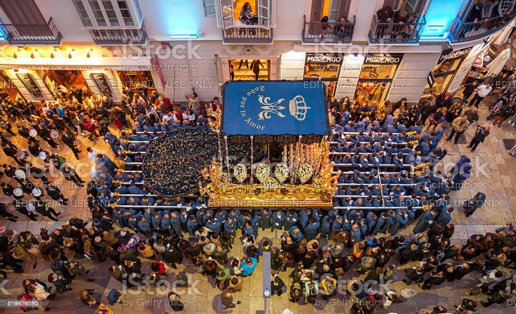 Semana Santa in Maga: procession of Rico brotherhood stock photo