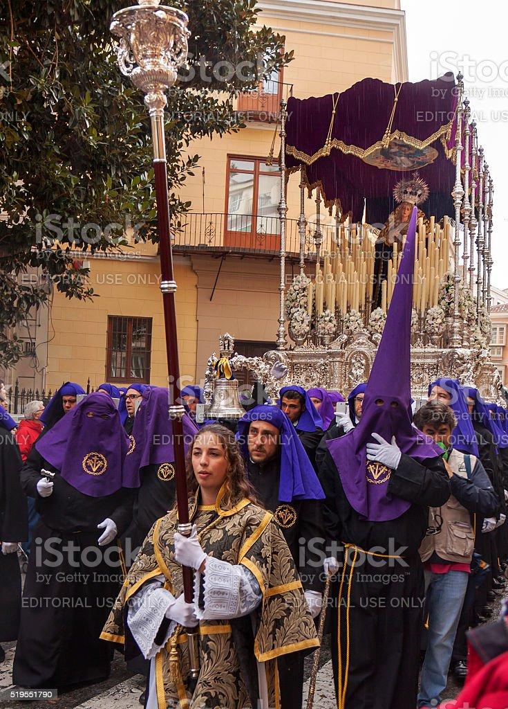 Semana Santa in Malaga: procession of Crucifixión brotherhood stock photo