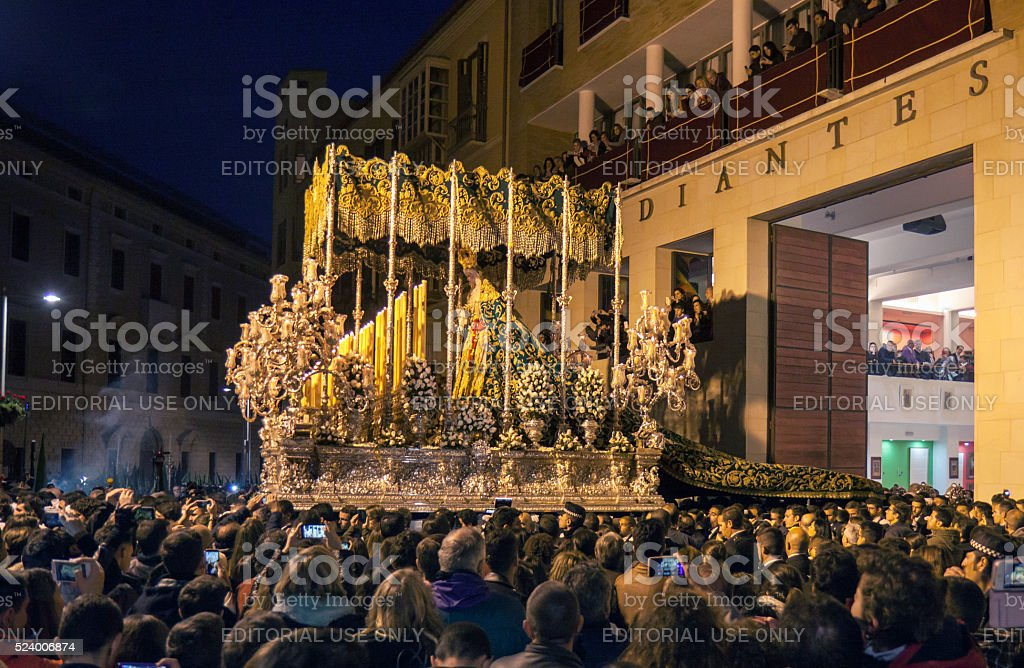 Semana Santa in Malaga: procession of Estudiantes brotherhood stock photo