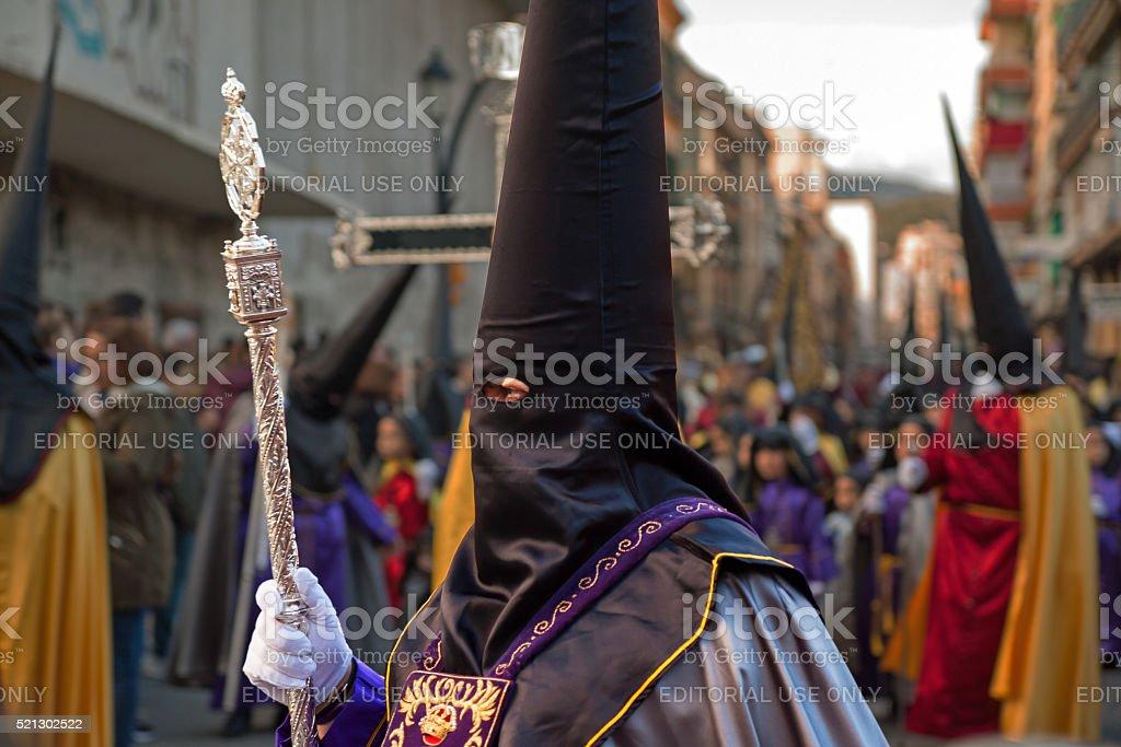 Semana Santa in Malaga: procession of Rescate brotherhood stock photo