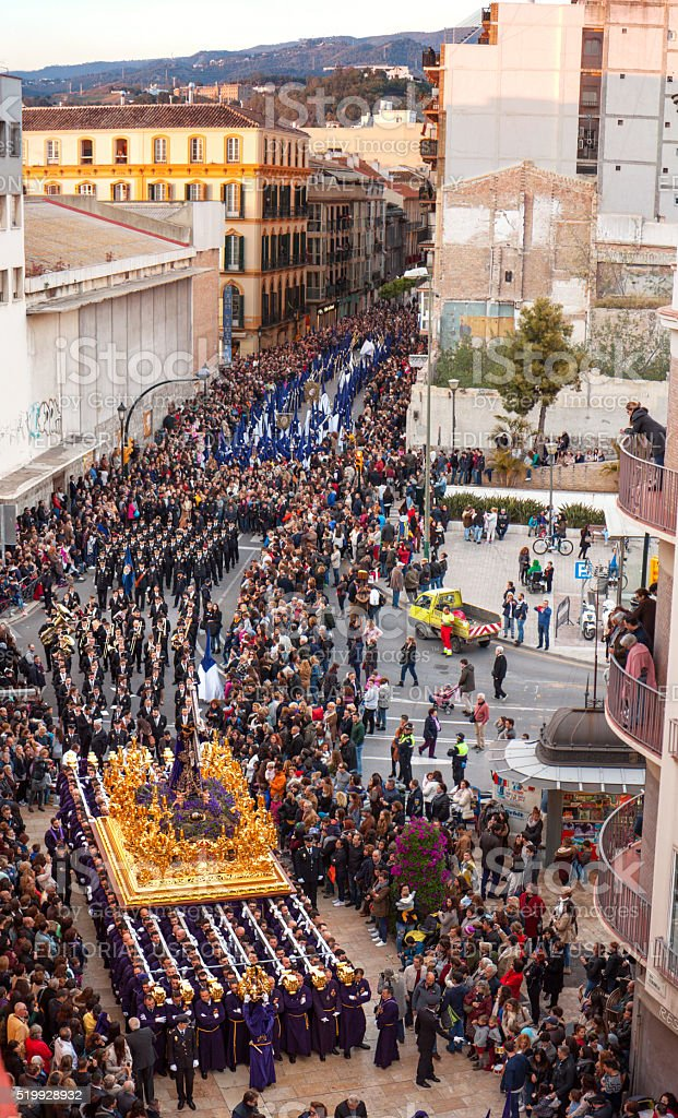 Semana Santa in Malaga: procession of Rico brotherhood stock photo