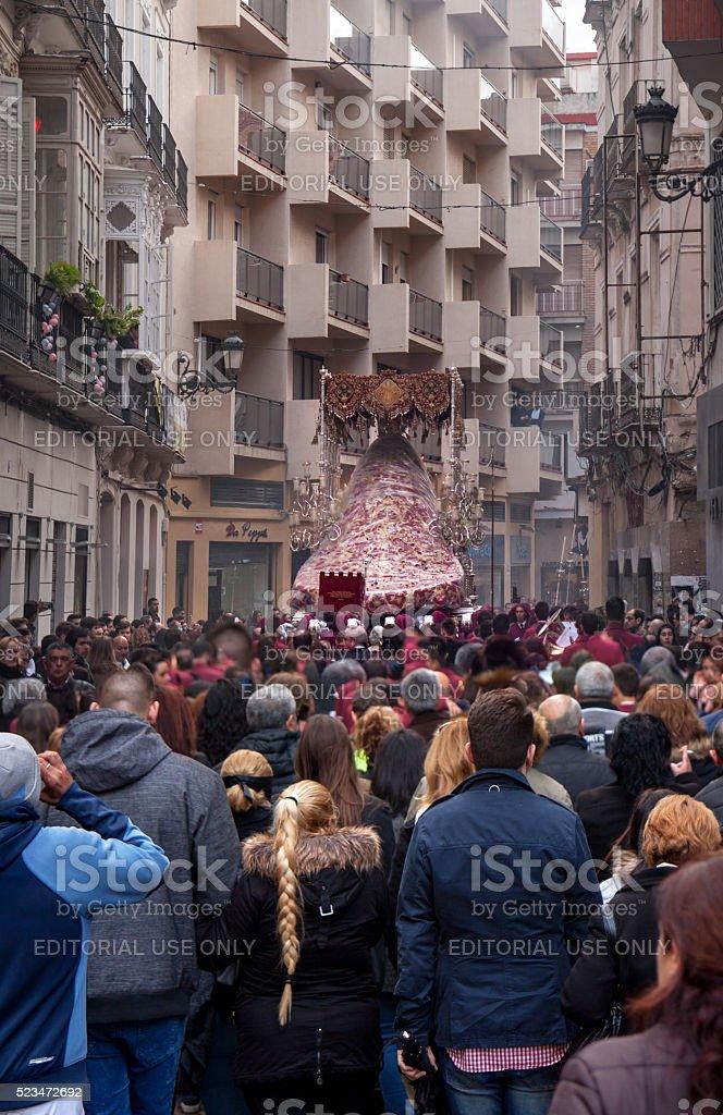 Semana Santa in Malaga: rainy procession of Gitanos stock photo