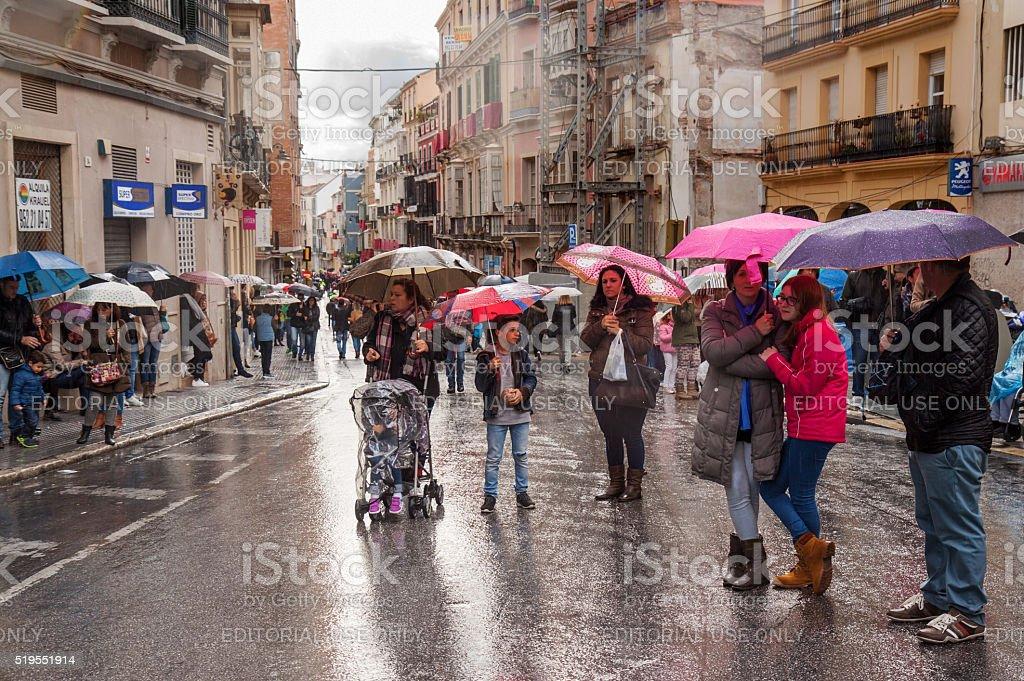 Semana Santa in rainy Malaga: waiting for the procession stock photo
