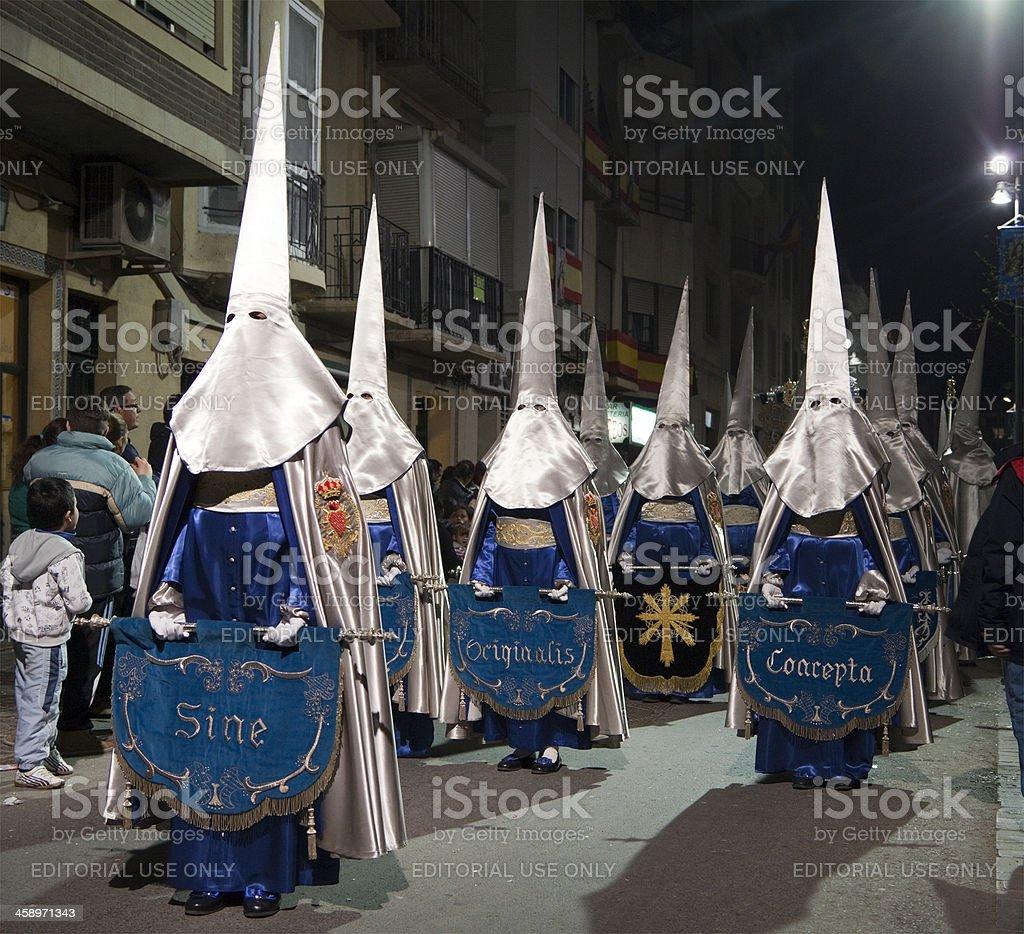 Semana Santa Procession in Cartagena, Spain stock photo
