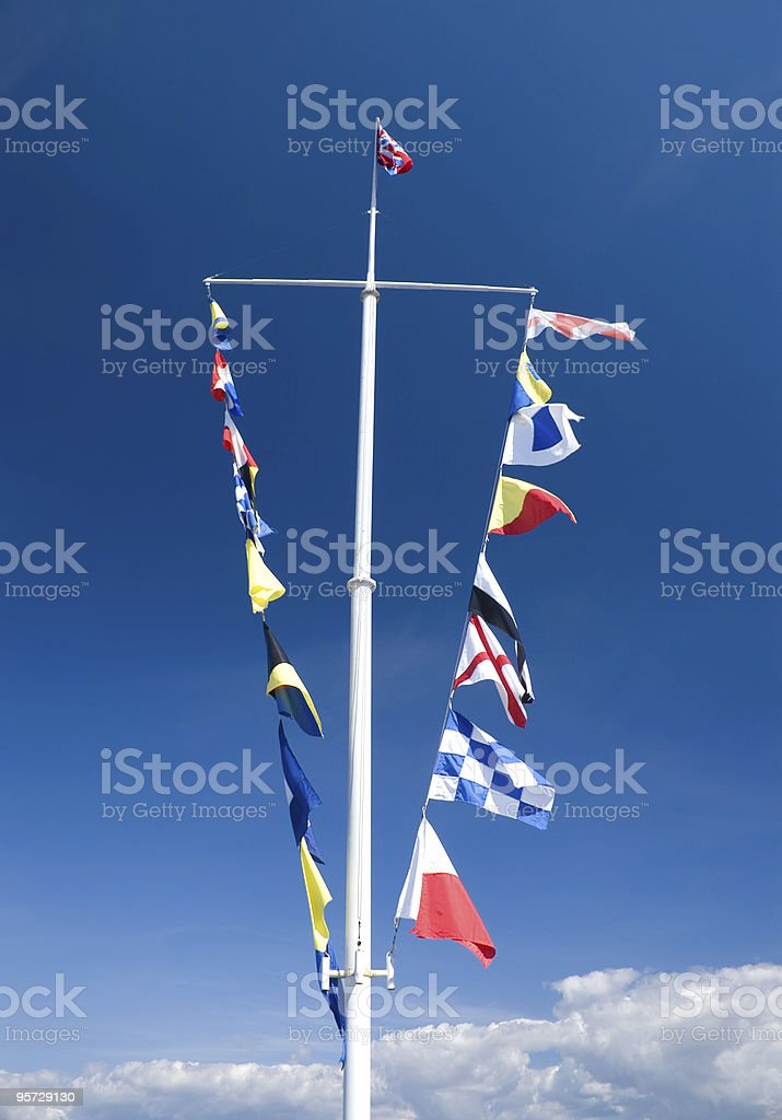 Semaphore flags on mast royalty-free stock photo