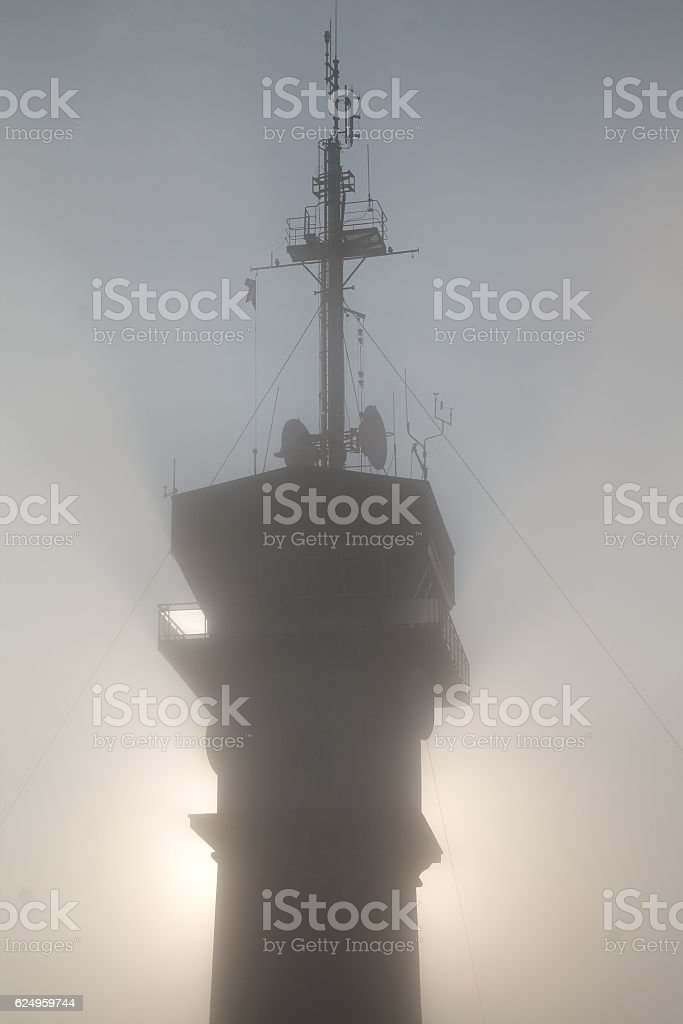 Semaphore in the fog stock photo