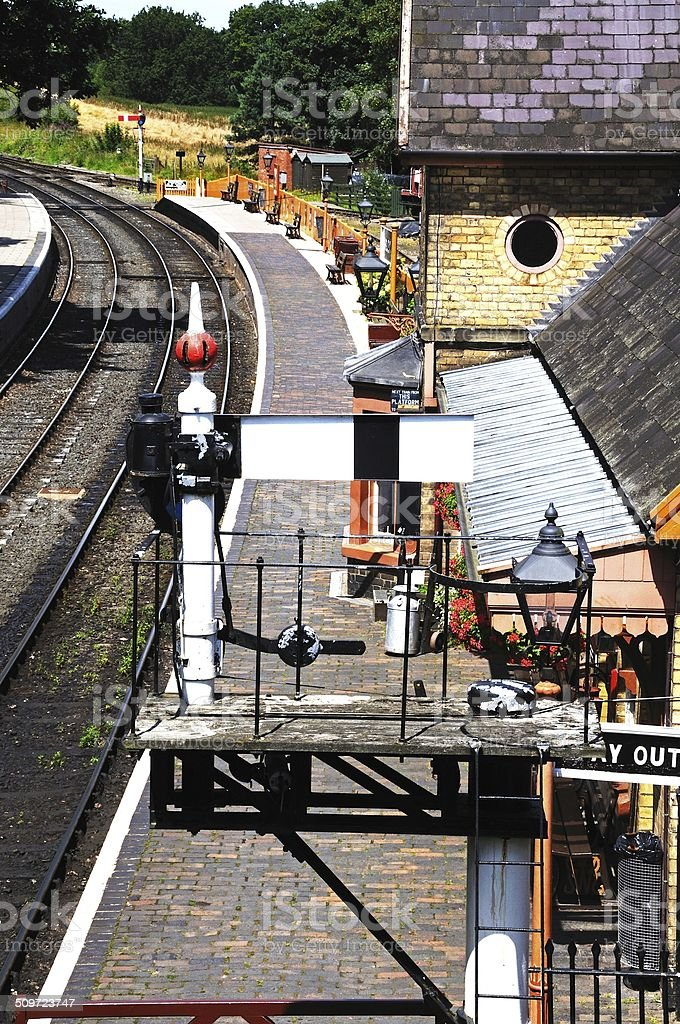 Semaphore signal at Arley Railway Station. stock photo