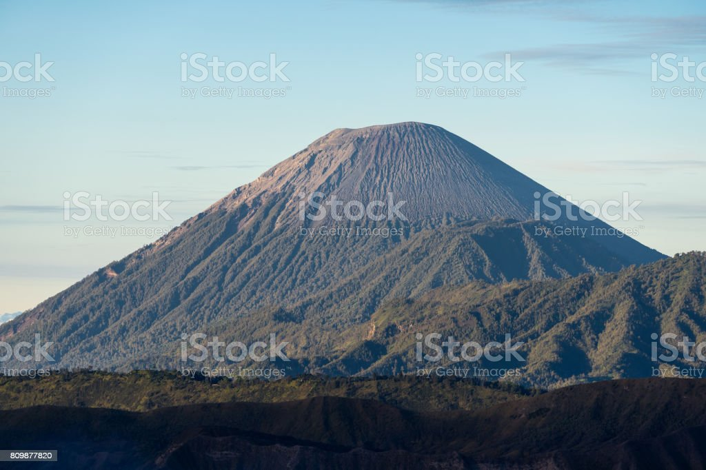 Semeru volcano mountain peak in a morning, East Java, Indonesia stock photo