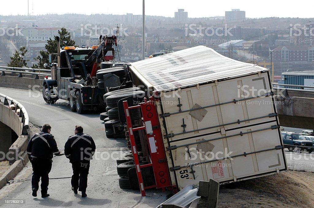 Semi Accident stock photo