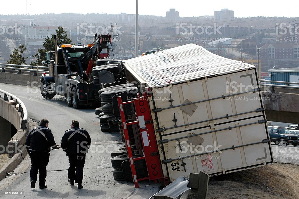Semi Accident stock photo
