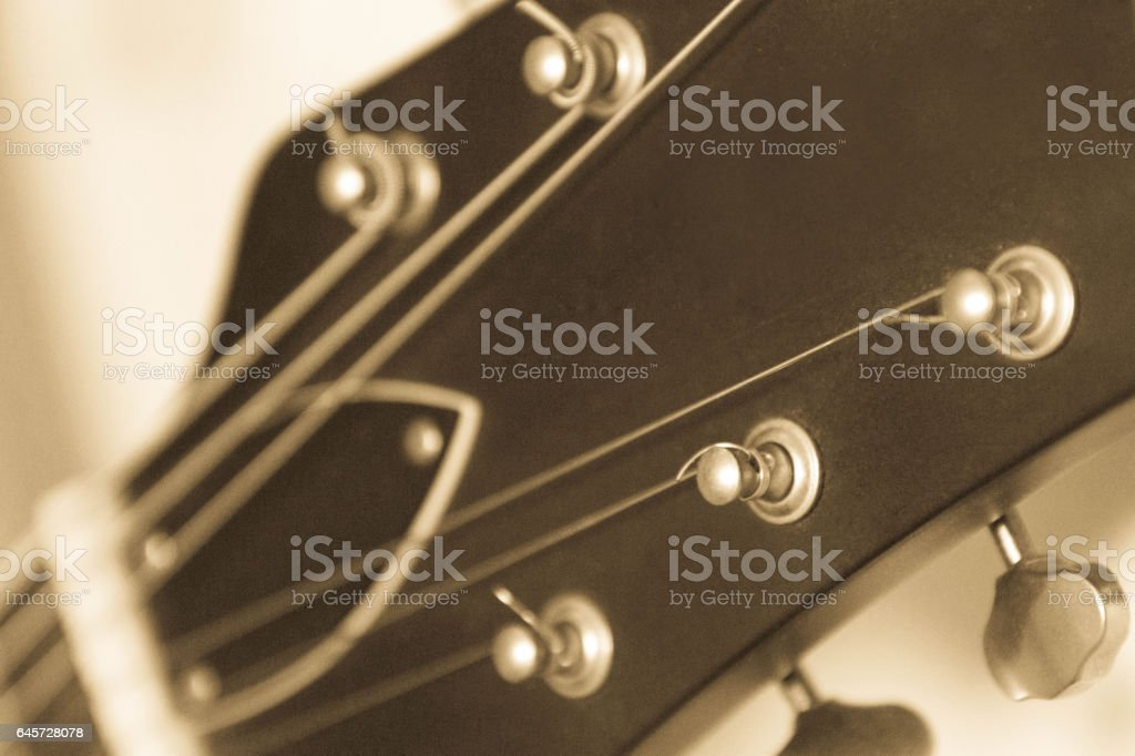 Semi acoustic guitar machine head stock photo
