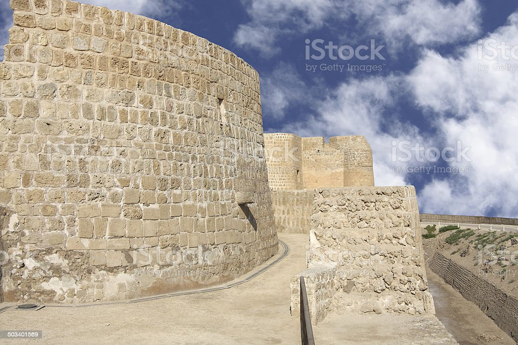 Semi circular wall in the north of Bahrain Fort royalty-free stock photo
