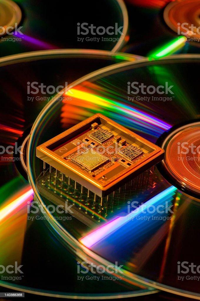 Semi Conductor on CD-Roms stock photo