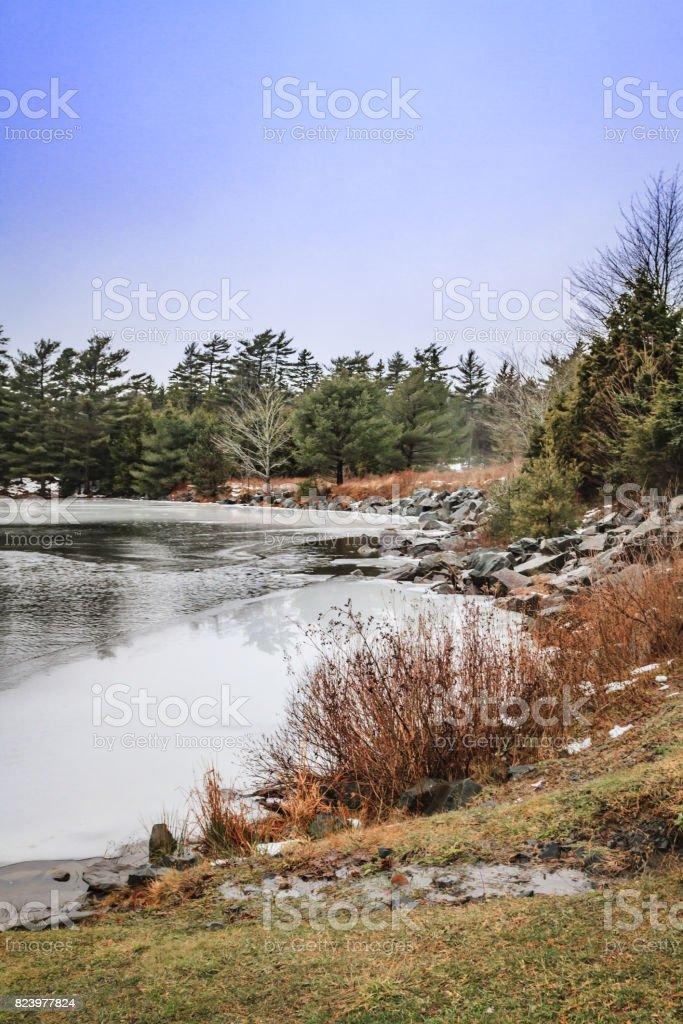 Semi Frozen Lake in Winter stock photo