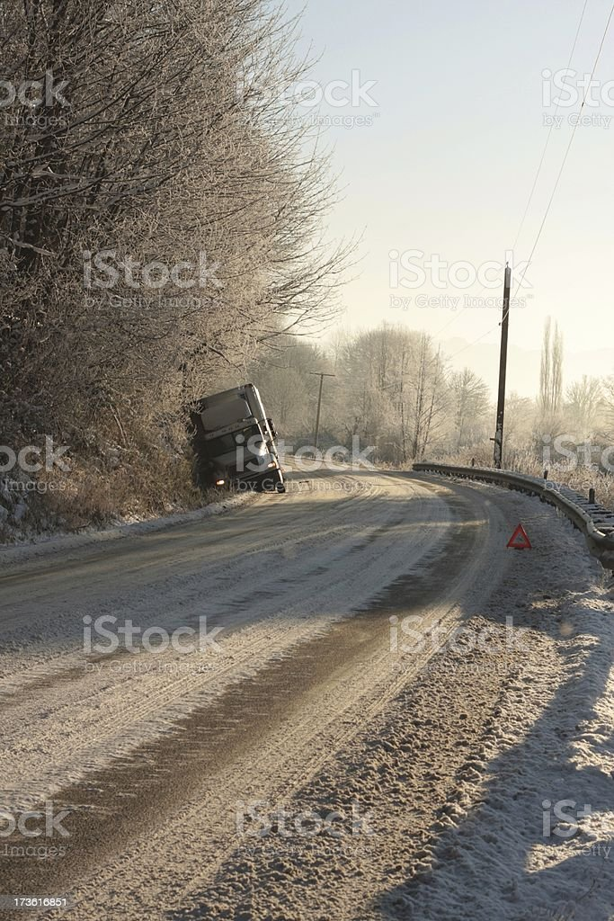 Semi In The Snowy Ditch stock photo