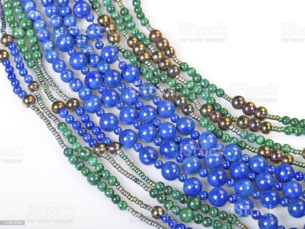 Semi precious beads malachite  and lapis lazuli stock photo