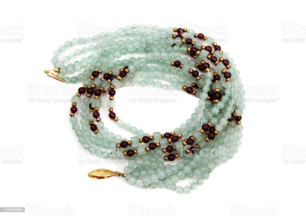 Semi precious stone bead necklace stock photo