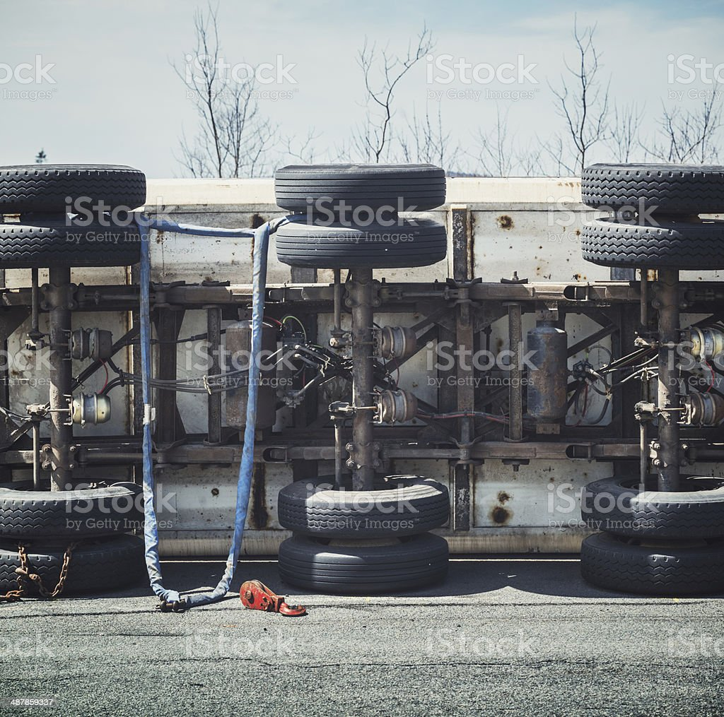 Semi Rollover stock photo