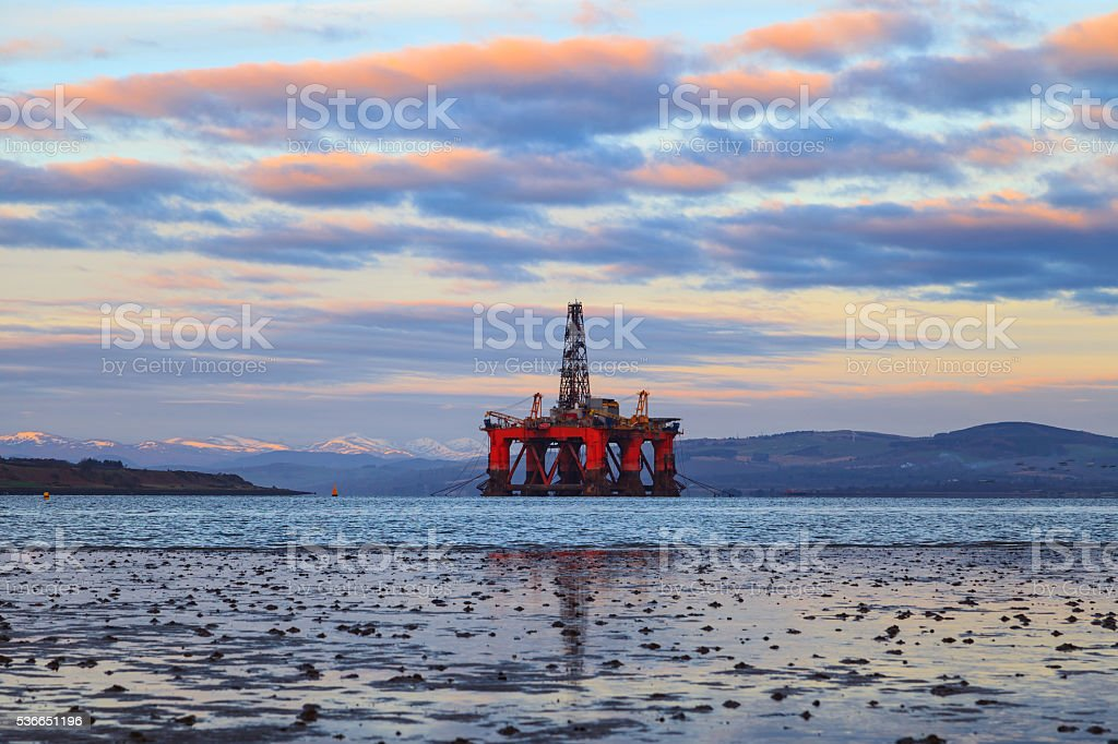 Semi Submersible Oil Rig at Cromarty Firth stock photo