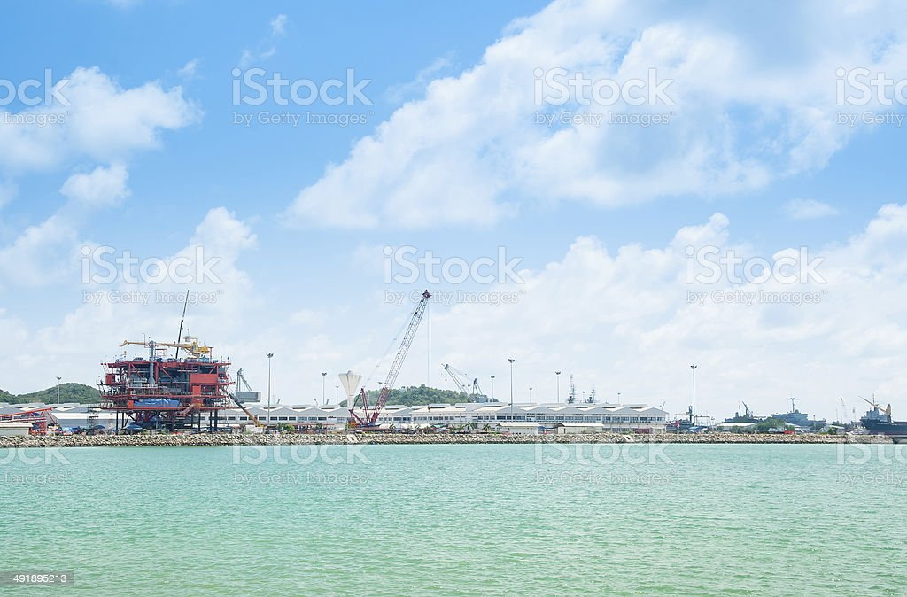Semi submersible rig in the harbour stock photo