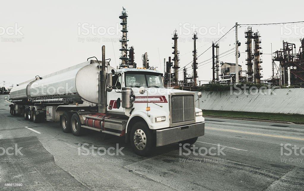Semi Tanker Leaving Refinery stock photo