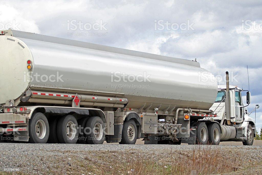 Semi Tanker Truck Hauling Gasoline stock photo