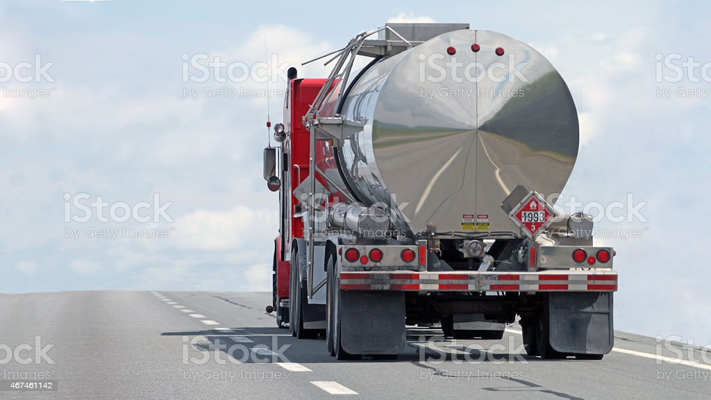 Semi Tanker Truck Travelling On A Highway stock photo