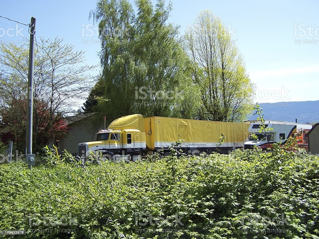 Semi trailer at home royalty-free stock photo