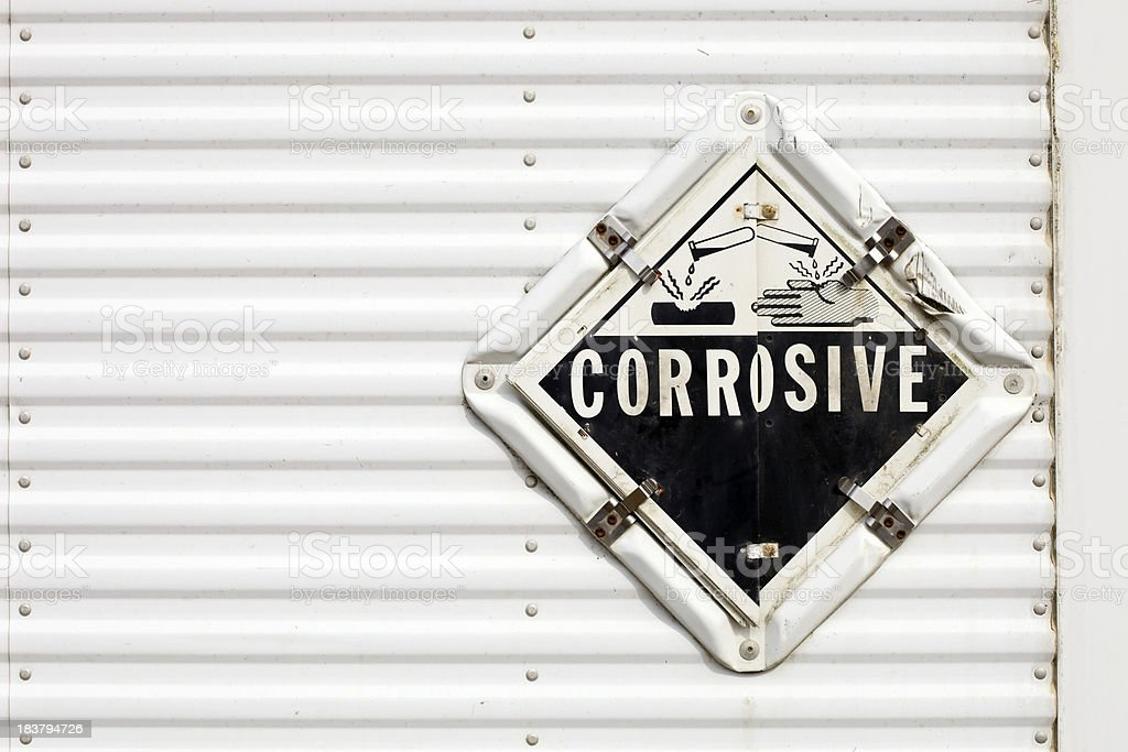 Semi Trailer Corrosive Warning Placard stock photo
