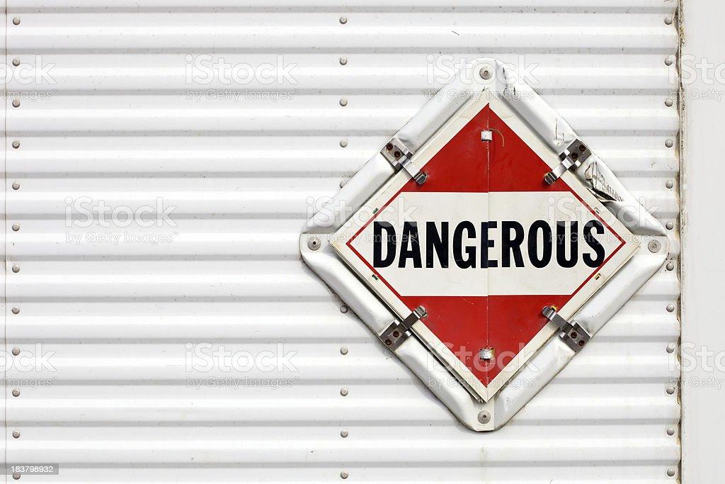 Semi Trailer Dangerous Warning Placard stock photo