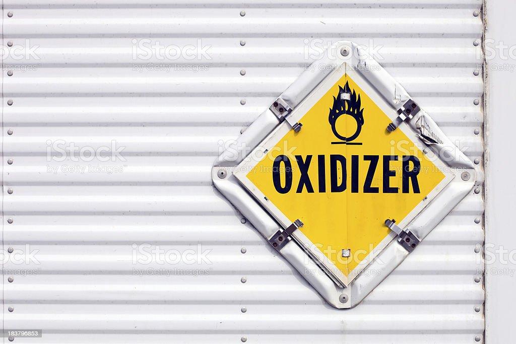 Semi Trailer Oxidizer Warning Placard royalty-free stock photo