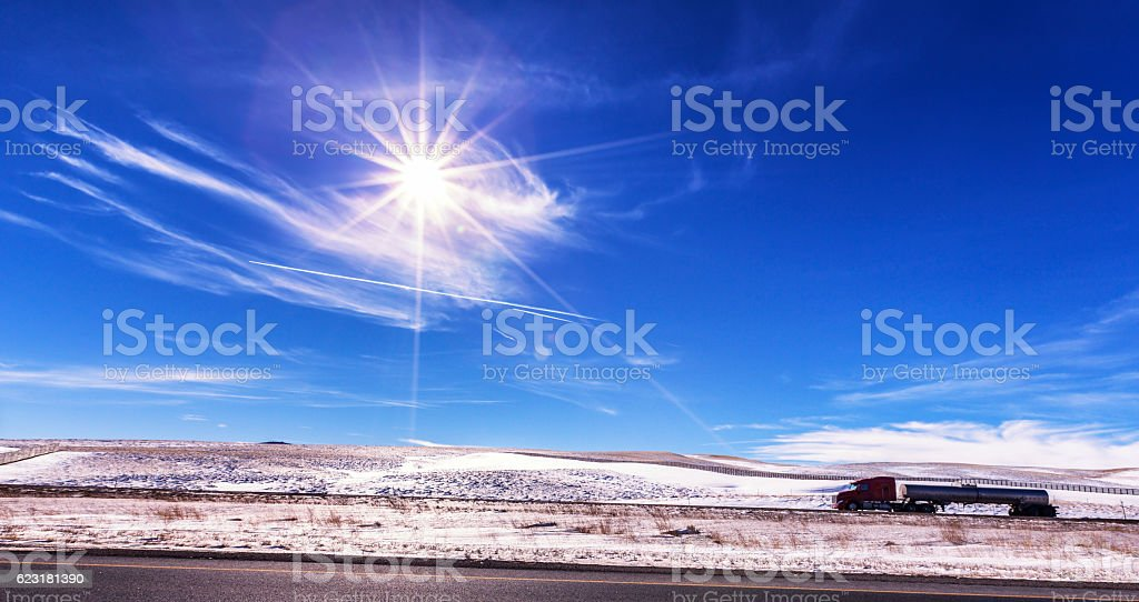 Semi Trailer Truck Tanker on Western USA Sunflare Expressway Highway stock photo