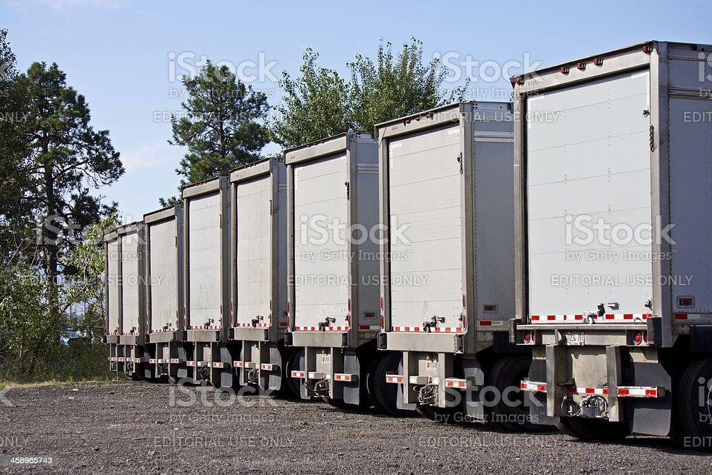 UPS Semi Trailers Lined Up At Warehouse royalty-free stock photo