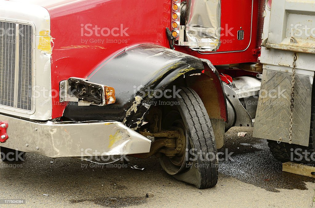Semi truck accident wheel bent stock photo