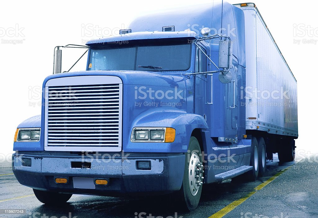 Semi Truck at a Truckstop royalty-free stock photo