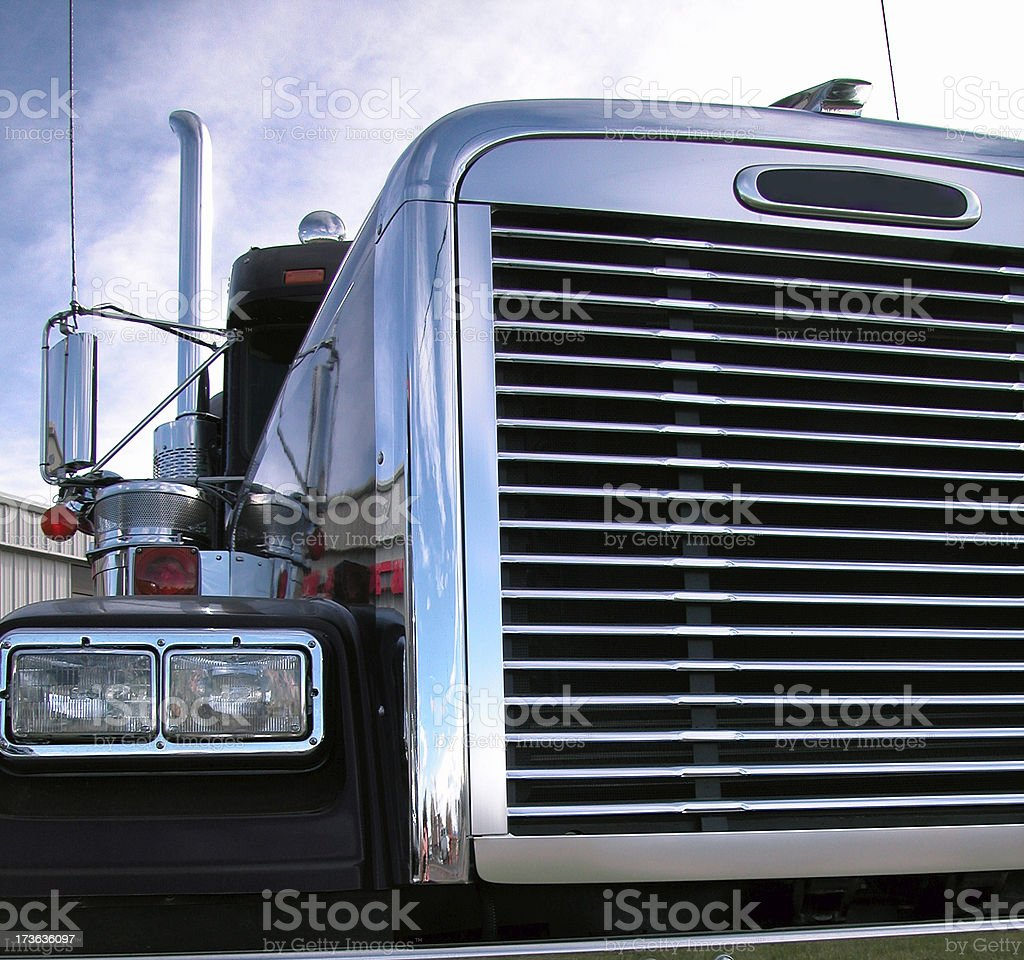 Semi Truck Chrome Grill royalty-free stock photo