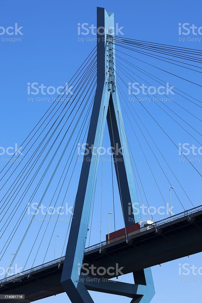 Semi Truck Crossing Modern Suspension Bridge royalty-free stock photo