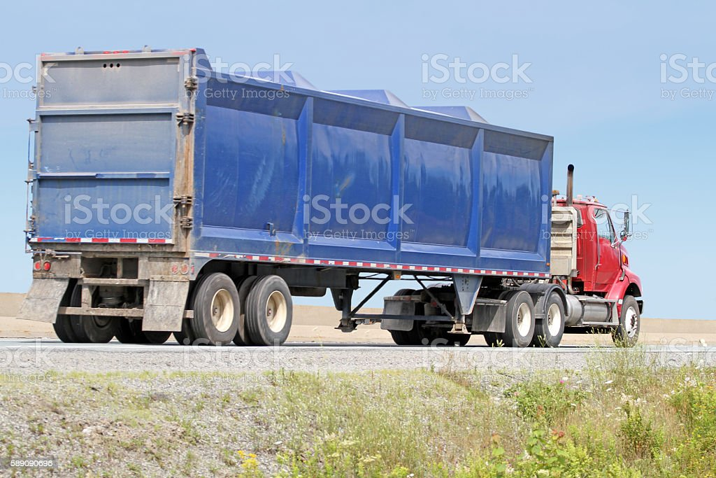 Semi Truck Hauling Industrial Waste To A Treatment Facility stock photo