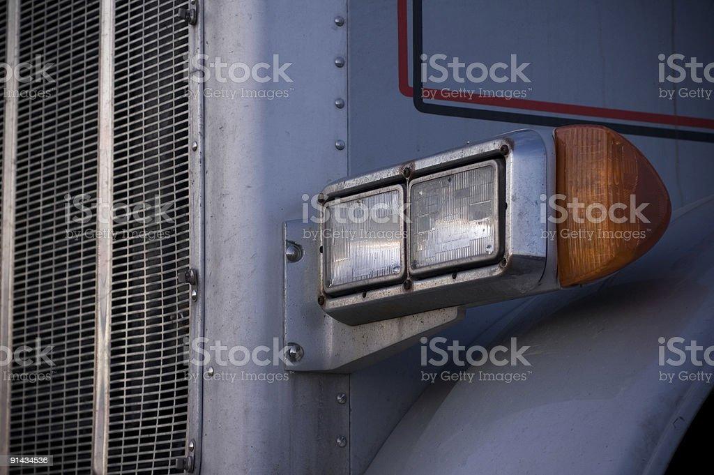 Semi truck headlight stock photo