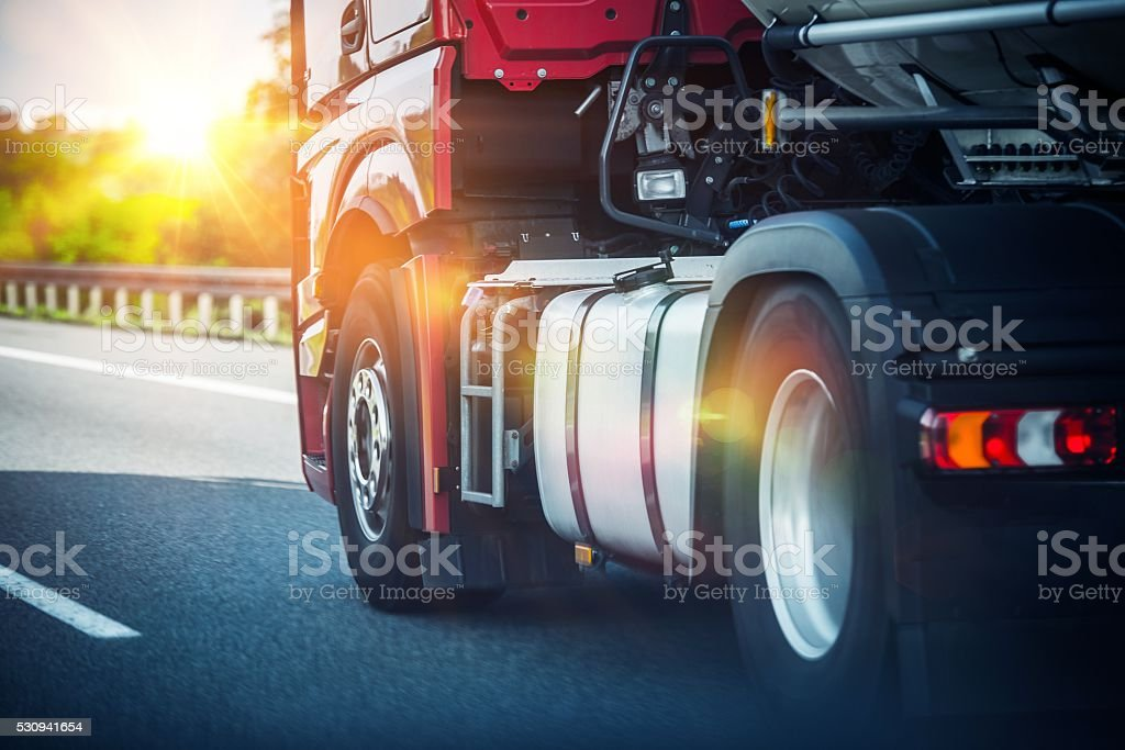 Semi Truck on a Highway stock photo