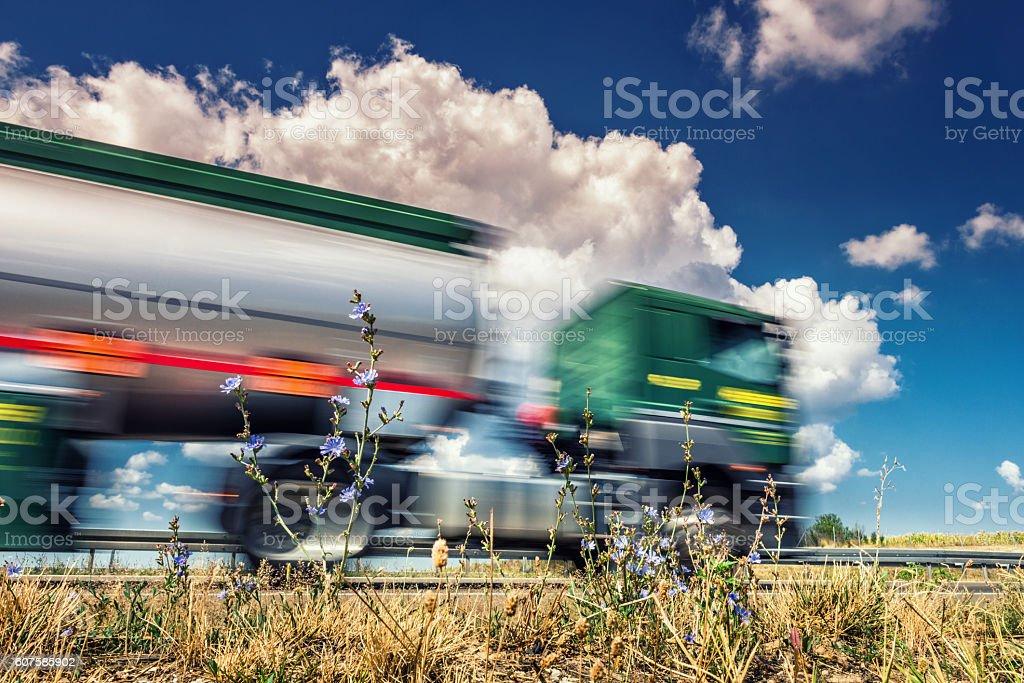 Semi truck on highway stock photo