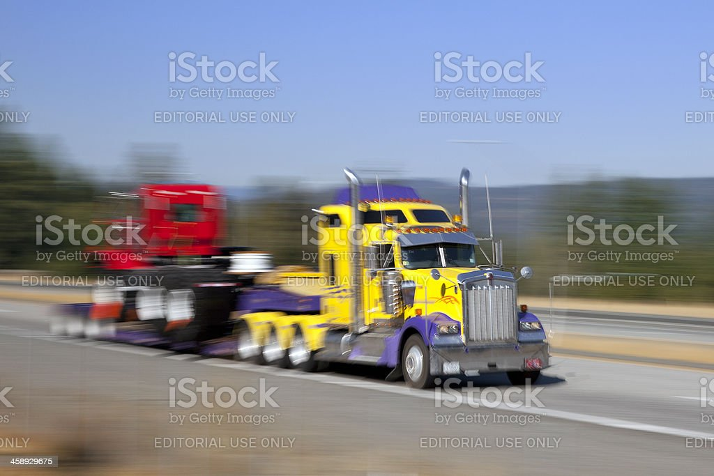 Semi truck on the highway royalty-free stock photo
