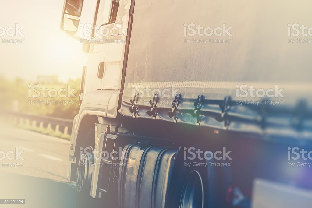 Semi Truck on the Highway stock photo