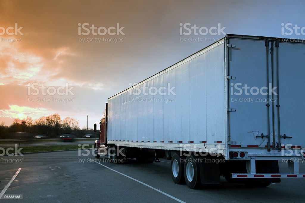 Semi Truck Parked on rest area. stock photo