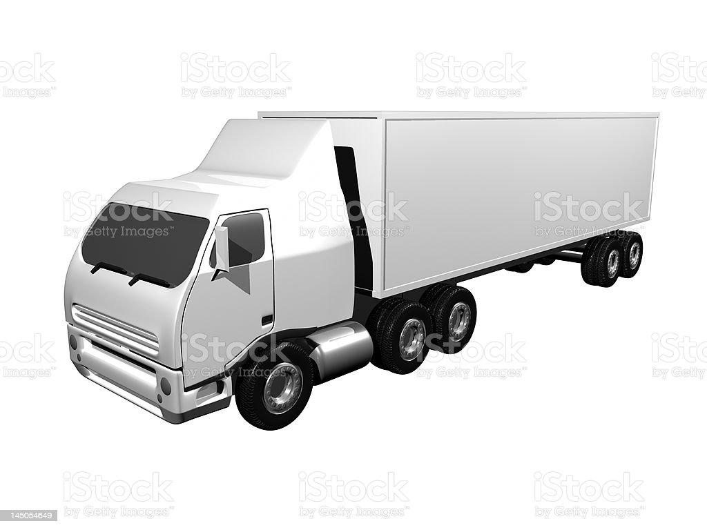 Semi truck white isolated royalty-free stock photo