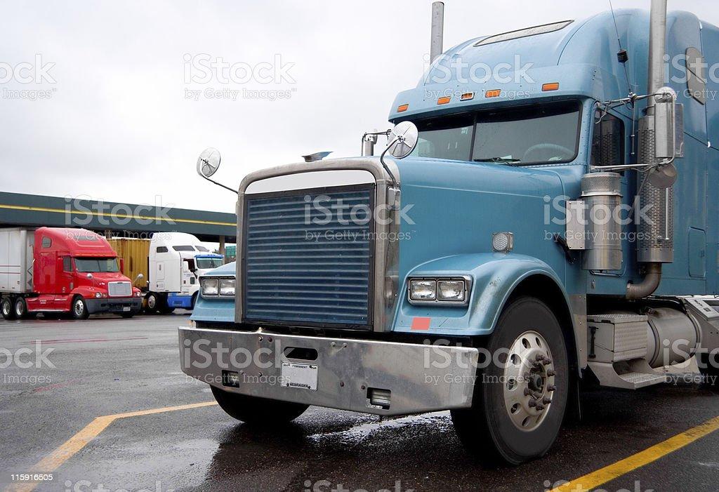 Semi Trucks at a Truckstop stock photo