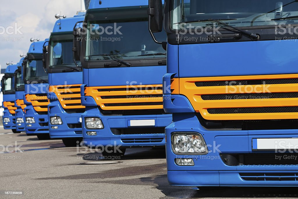 Semi trucks in a row stock photo
